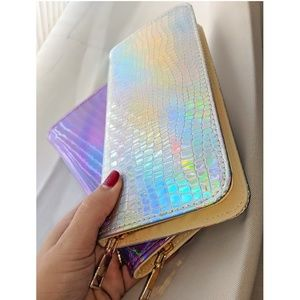 Handbags - Holographic Clutch Wallet Zipper Coin Purse